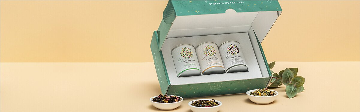 3 Tee-Minis in einer weihnachtlichen Geschenkbox