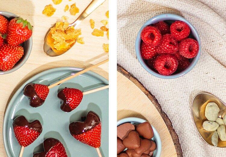 Herzchen aus Beeren und Schokolade