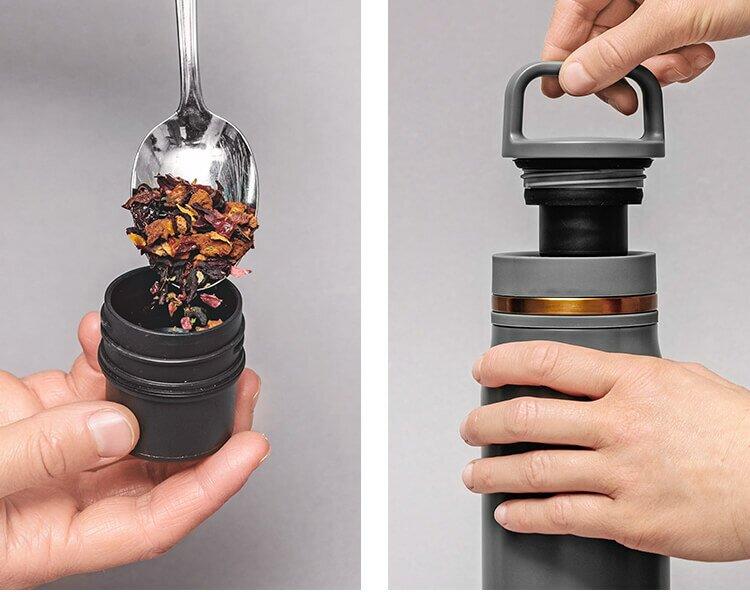 Tee sicher aufbewahren im Teebehälter der Thermo Bottle 2go