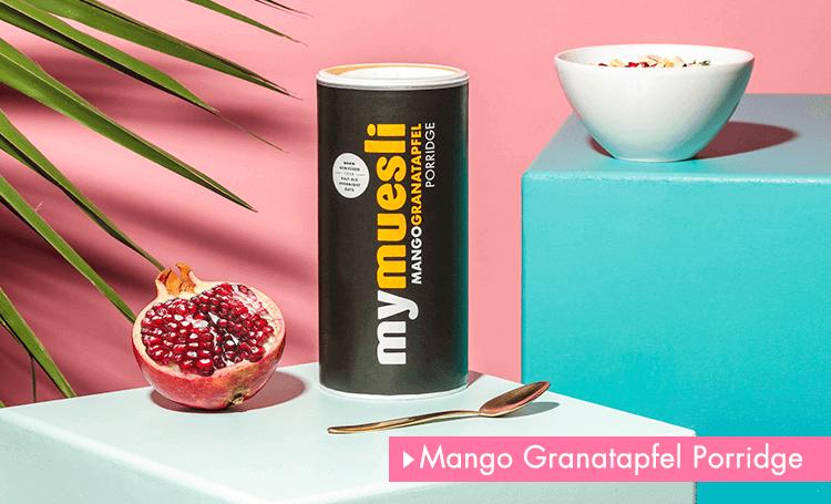 Mango Granatapfel Porridge - süss und fruchtig.