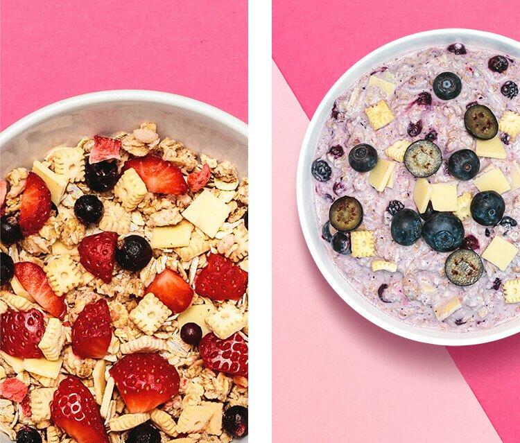 Blueberry Cheesecake Porridge und Strawberry Cheesecake Müsli