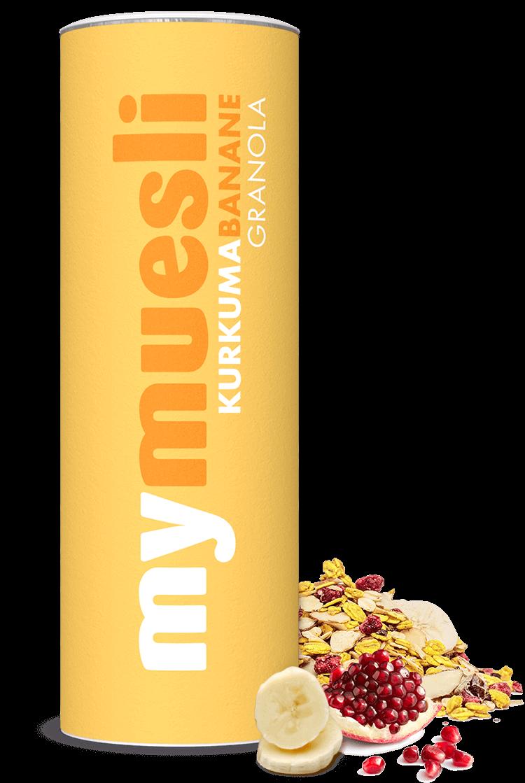 Leuchtend gelbe Müslidose mit unserem Kurkuma-Banane-Granola