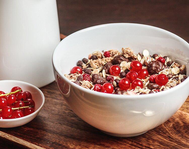 Müslischale mit dunklen Cranberry-Chocs und frischen Johannisbeeren