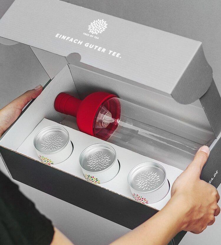 Box mit Eisteeflasche und 3 leckeren Sorten Tee