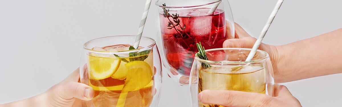Teeglas aus Borosilikat-Glas.