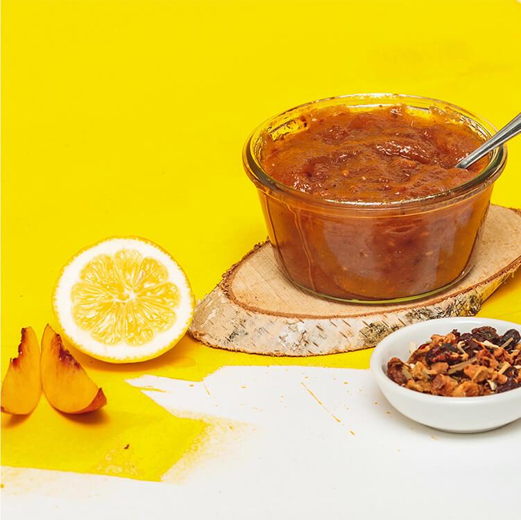 Süße Peachy June-Marmelade mit Vanille verfeinert