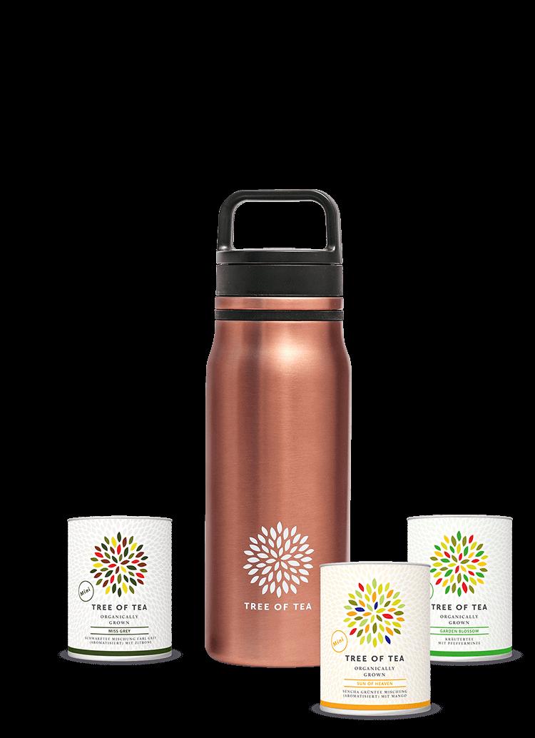 Unsere Thermo Bottle 2go für besten Teegenuss unterwegs.