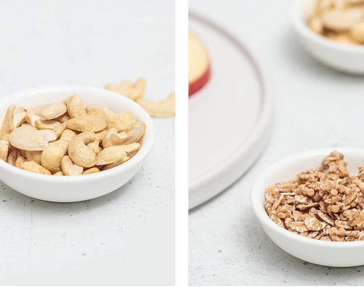 Cashewkerne und Oat-Crunchy als Müsli-Basis.
