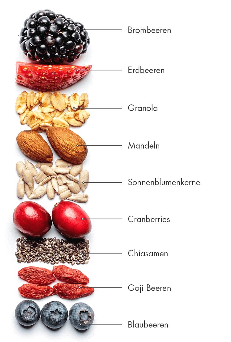 Besonders viele Früchte in einem Riegel.