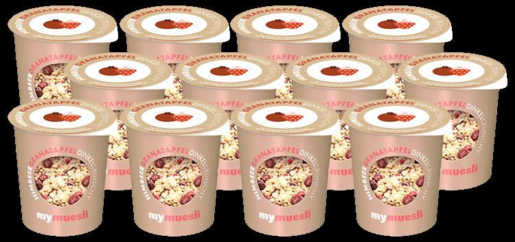 Praktisches 12er Pack mit Himbeer Dinkel Crunchy Müsli 2go