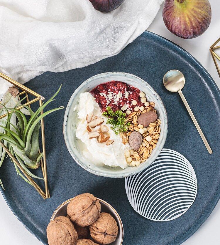 Dein weihnachtliches Frühstück mit Quark-Himbeerkompott
