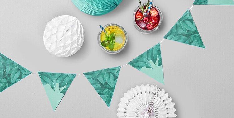 Deko leicht gemacht mit der DIY Wimpelkette im tropischen Design