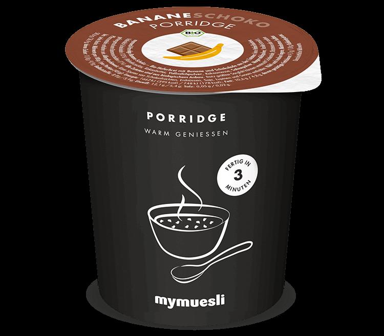 Bio-Porridge in der Sorte Banane-Schoko – zum Mitnehmen!
