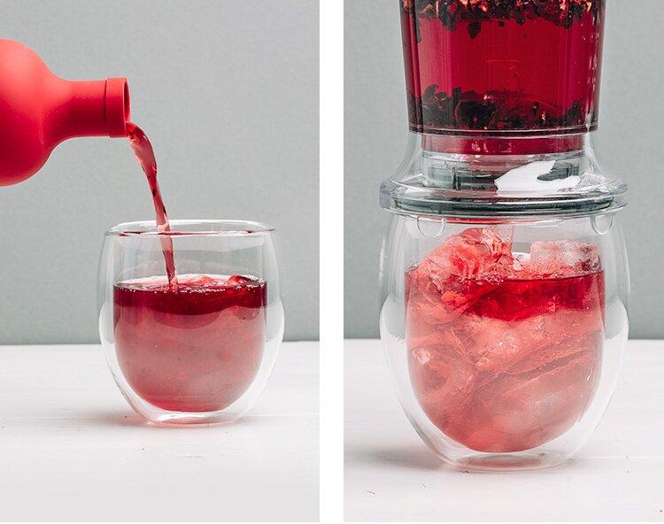Teeglas im stylischen Design.