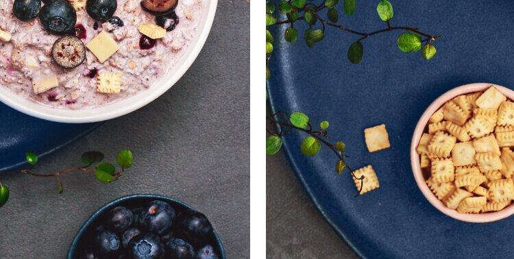 Porridge als perfektes Frühstück mit frischen Blaubeeren.