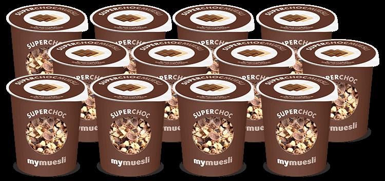 Schoko-Müesli zum Mitnehmen mit weisser Schokolade, Vollmilch-Schokolade und Zartbitterschokolade