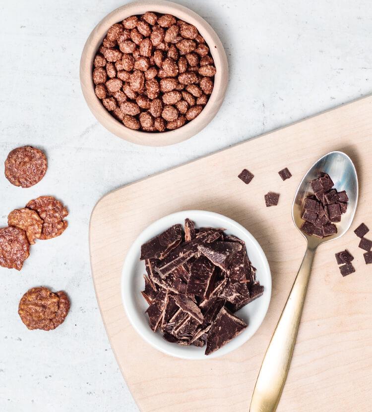 Schokolade, Flakes und Schokoholic Crunchy