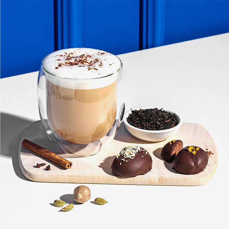 Lebkuchen Chai Latte mit Hafer Nilk