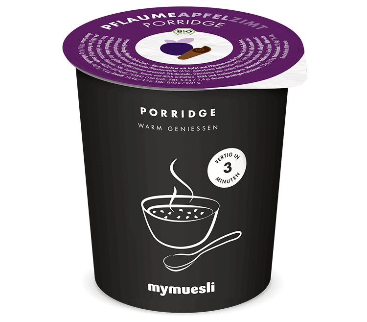 Bio-Porridge in der Sorte Pflaume-Apfel-Zimt – zum Mitnehmen!
