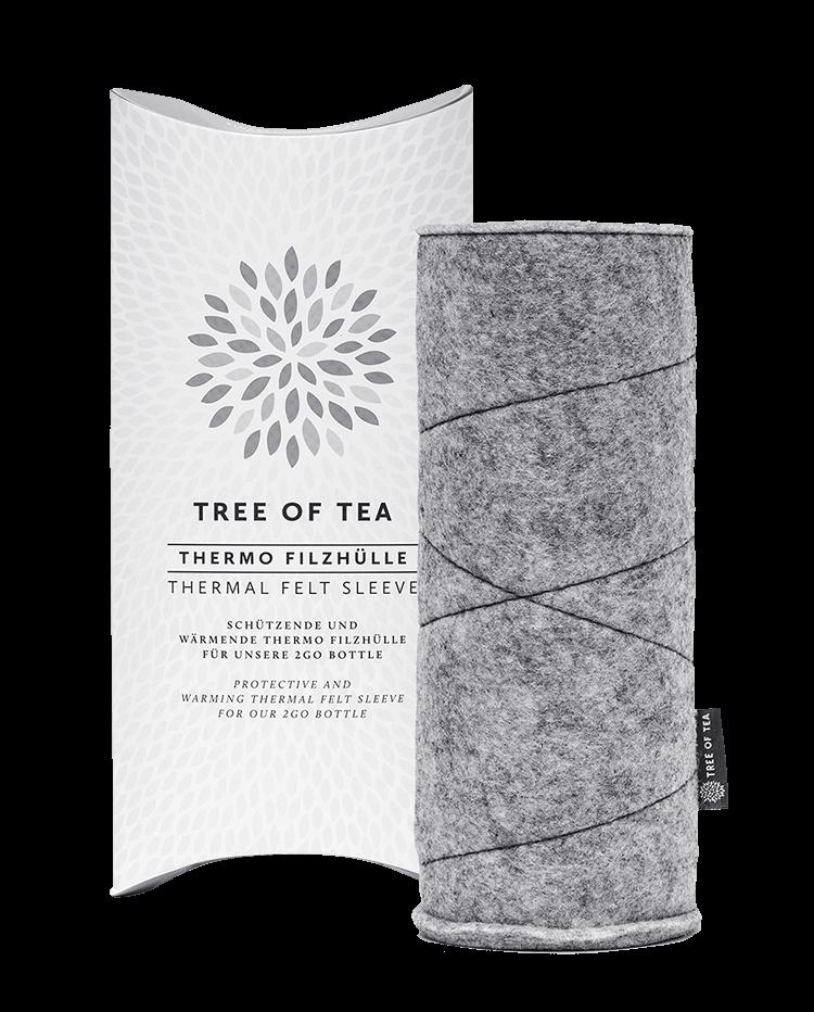 Die weiche Filzhülle in einer designten Tree of Tea-Hülle