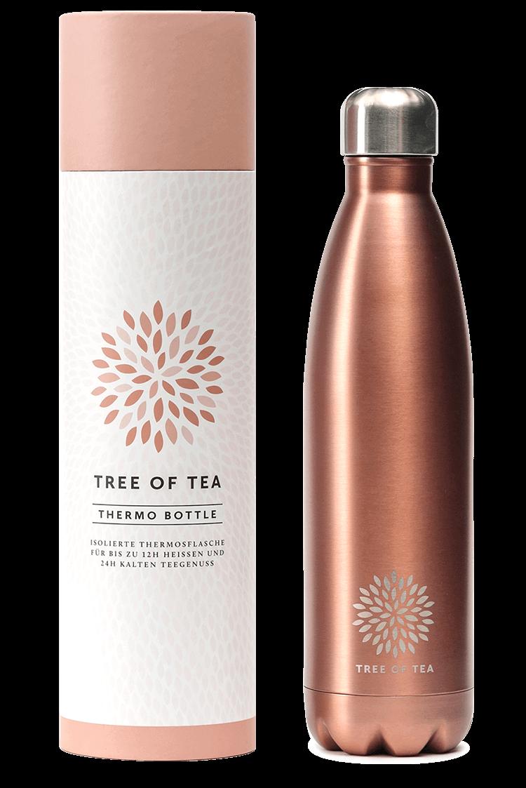 Doppelwandige Tee Thermosflasche für 12 Stunden warmen oder kalten Tee.