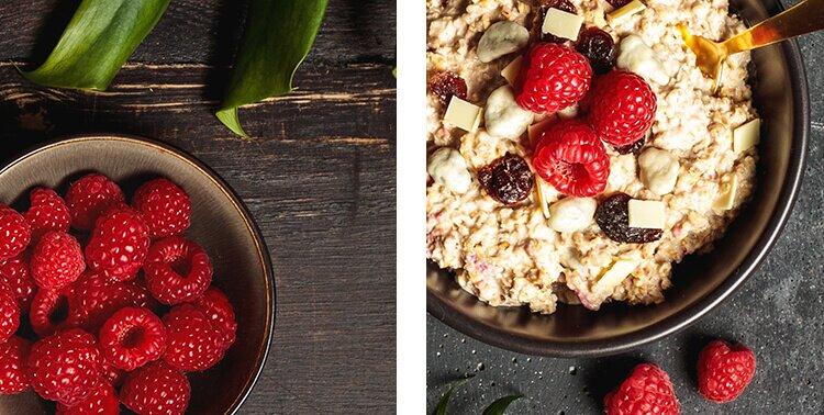 Porrdige mit Bio-Früchten, wie Himbeeren, Blaubeeren und Stachelbeeren