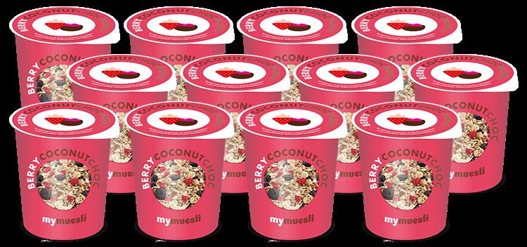 12 Portionsbecher mit unserem ersten veganen Schoko-Müsli