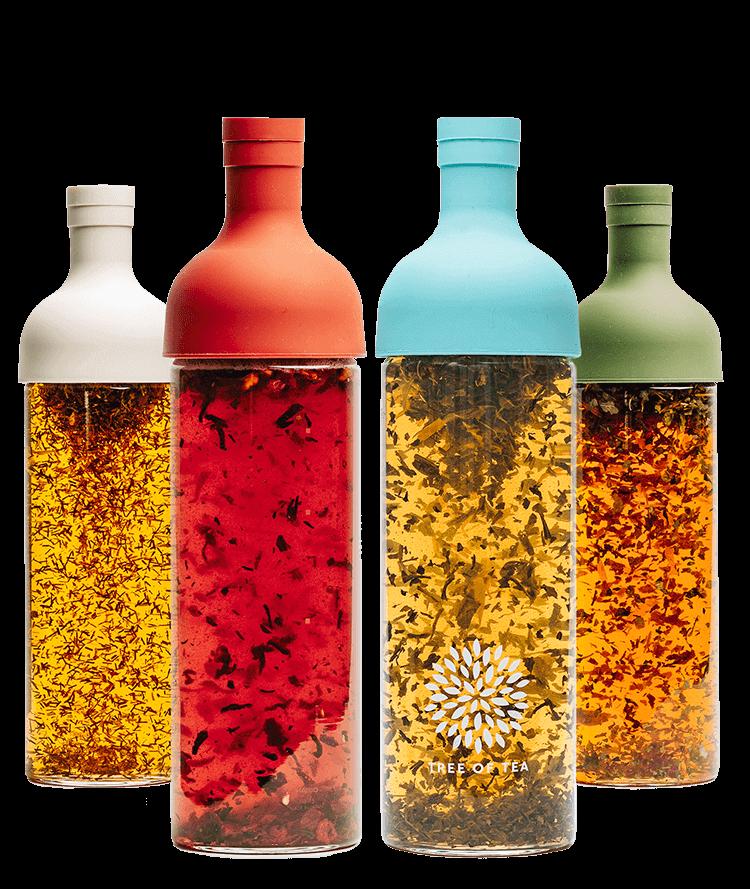 In vier tollen Farben gibt es unsere HARIO Eisteeflasche