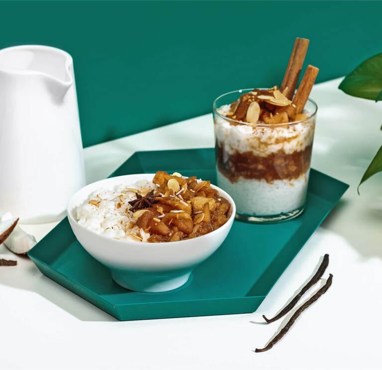 Milchreis mit Bratapfelkompott und Kokos Nilk