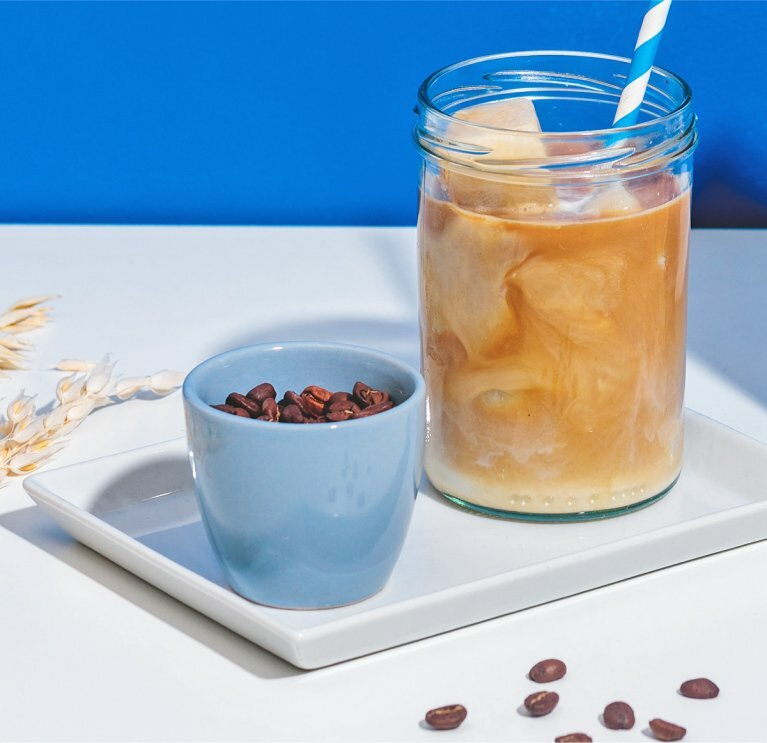 Eiskaffee mit Hafer Nilk Eiswürfeln