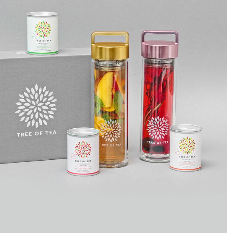 Unser Tea2go Set in der Geschenkbox mit der 2go Bottle und 3 leckeren Tee-Minis.