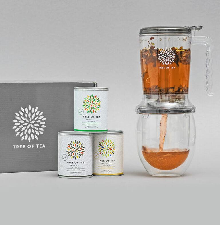 Der Tea Maker im Set mit 3 Tee-Minis und unserem doppelwandigen Teeglas