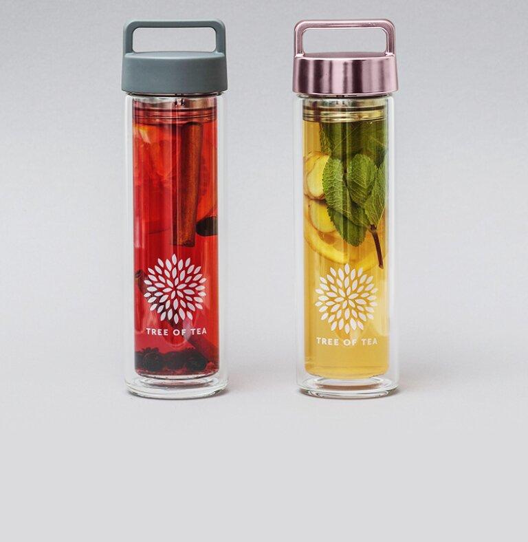2go Bottle in Mattgrau und Roségold für ideale Teemomente