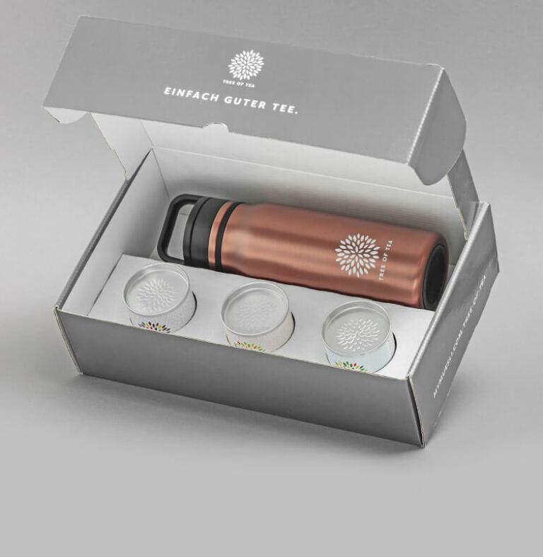 Vereint in einem Set: Thermo Bottle 2go und 3 Tee-Minis