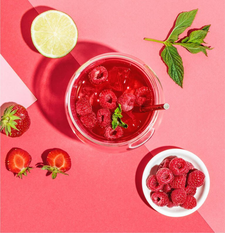 Minty Ruby Teecocktail mit Red Ruby Früchtetee
