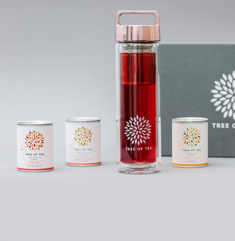 Das Tea2go Set mit der 2go Bottle und 3 leckeren Sorte Bio-Blatt-Tee