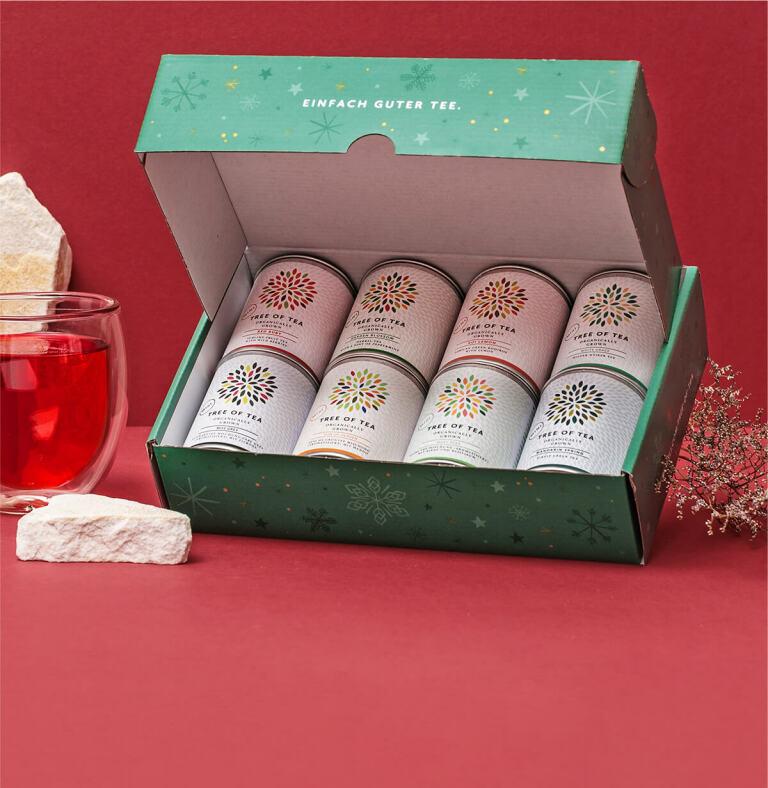 8 leckere Tee-Minis vereint im 8er Probierpaket in der weihnachtlichen Geschenkbox.