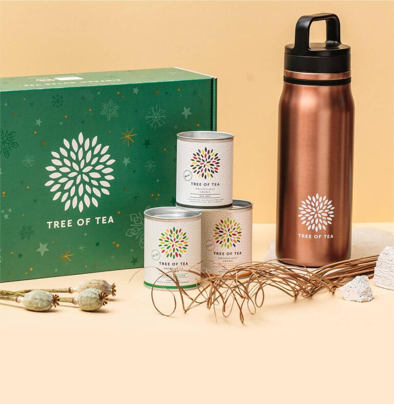 Die Thermo Bottle 2go im Set mit 3 feinen Tee-Minis verpackt in der Weihnachtsbox.