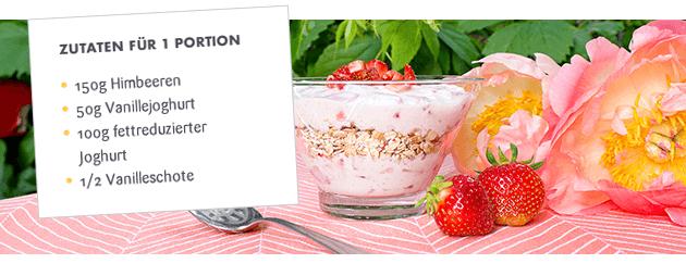 Müsli mit Joghurt, Himbeer & Vanille