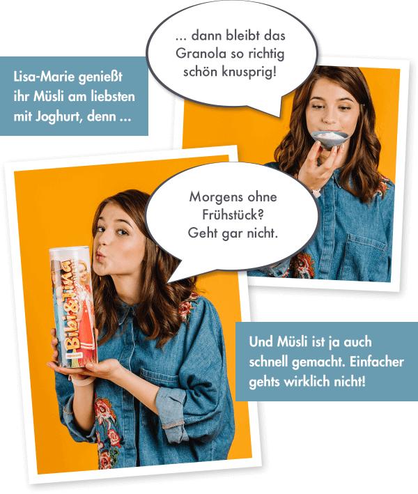Lisa-Marie über das Bibi und Tina-Müsli.
