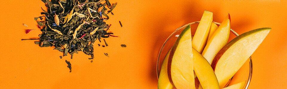 Sun of Heaven ist ein Sencha-Tee und mit natürlichem Öl der Mango Frucht veredelt.
