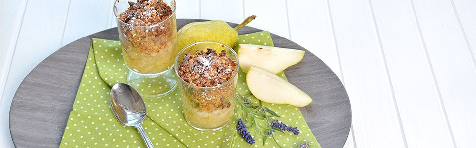 Müsli-Crumble mit Birnen - Rezept für ein leckeres Dessert
