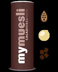 Krokante chocolade muesli met macadamia noten, cacao nibs en hazelnoten