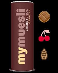 Krokante granola met chocolade en kersen