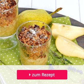 Müsli-Crumble als Dessert mit Haferflocken